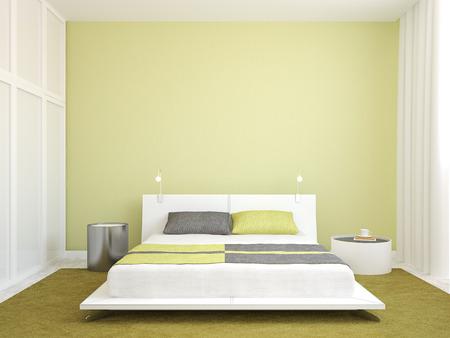 현대 침실 인테리어입니다. 미니멀리즘. 3d 렌더링입니다.