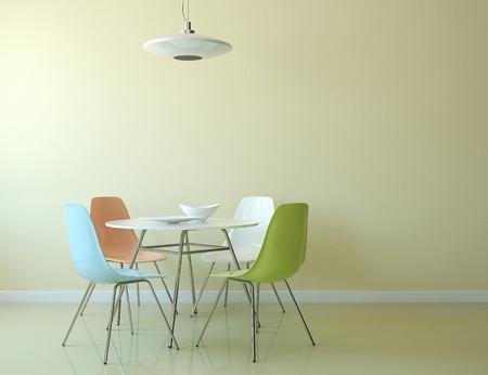sillon: Interior de la cocina con mesa y sillas cerca de la pared amarilla vacía. 3d.