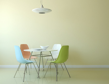 chairs: Kitchen interior with table and chairs near empty yellow wall. 3d render. Stock Photo