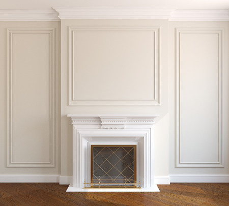 fireplace: Interior with fireplace. 3d render.