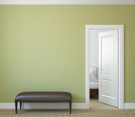 bedroom design: Modern hallway with open door. 3d render.