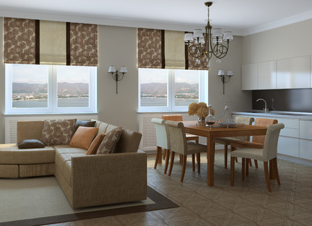 Modern living-room with dining-room and kitchen. 3d render. Photo behind the window was made by me.
