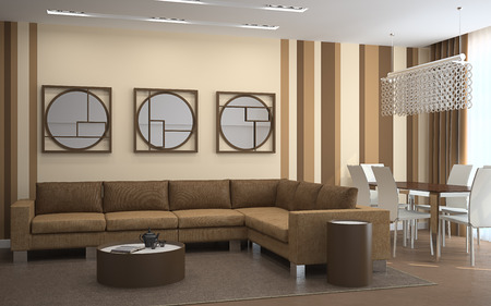 diningroom: Modern living-room with dining-room . 3d render. Stock Photo