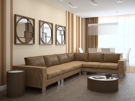 Modern living-room with dining-room . 3d render. 版權商用圖片