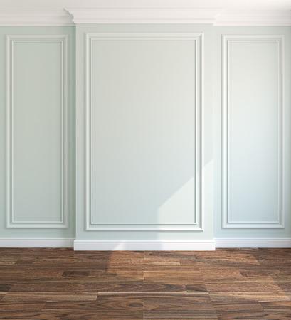 light green wall: Interior of empty room. 3d render. Stock Photo