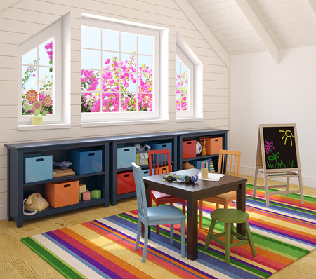 garret: Colorful playroom interior. 3d render. Photo behind the window was made by me.