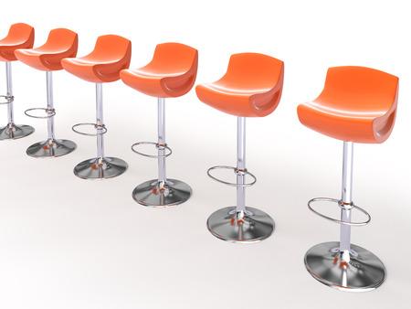 briliance: Stylish orange cafeteria chairs isolated on white background 3D Stock Photo