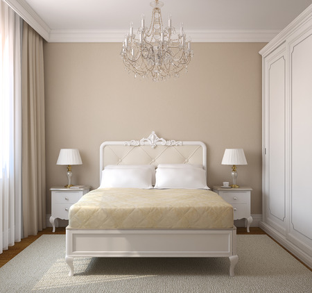 bedroom: Classical bedroom interior. 3d render. Stock Photo