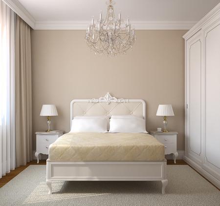 chambre � coucher: Int�rieur de la chambre classique. 3d render. Banque d'images