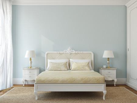 bedroom: Classical bedroom interior. 3d render. Stock Photo