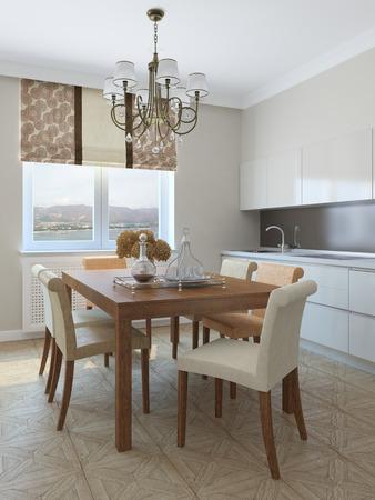 diningroom: Kitchen and dining-room. 3d render.