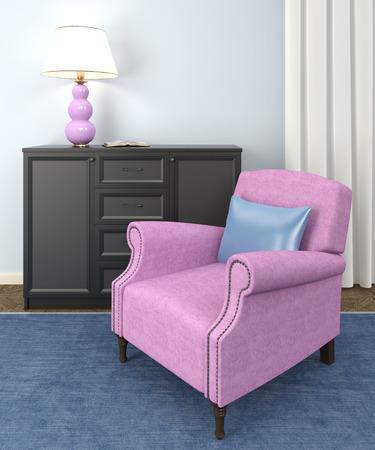 tallboy: Modern living-room interior. 3d render.