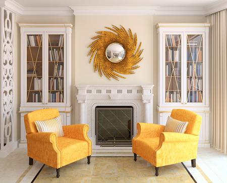 design: Séjour avec cheminée intérieure. 3d render.