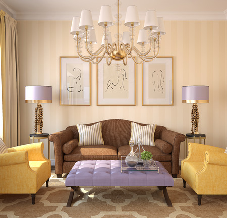 room decoration: Modern living-room interior. 3d render. Pictures on the wall was created by me in Photoshop.