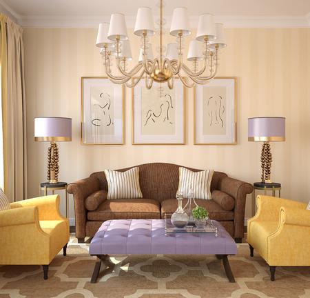 case moderne: Modern living-room interior. Rendering 3D. Immagini sul muro è stato creato da me in Photoshop. Archivio Fotografico