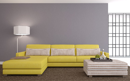 Modern living-room interior with yellow couch near empty gray wall. 3d render.