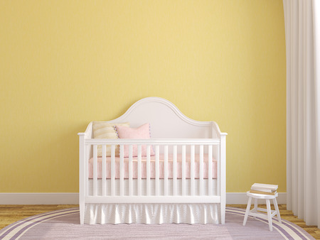 Interior of nursery with crib near empty yellow wall. 3d render.