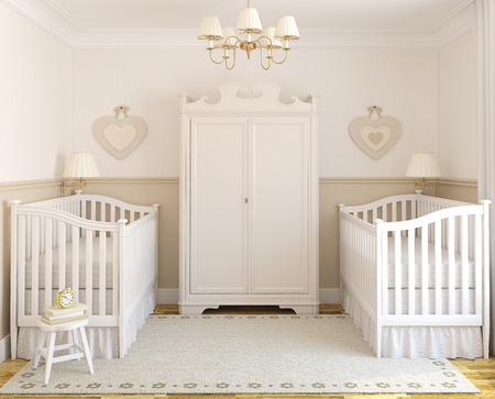 double room: Interior of cozy nursery for twins. Frontal view. 3d render.