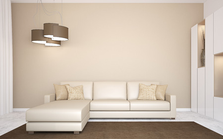 Interior with modern couch near empty wall. 3d render. Standard-Bild