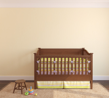 interior wall: Beautiful interior of nursery with crib near yellow wall. Frontal view. 3d render.