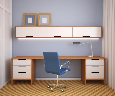 Interior. Home office. 3d render.