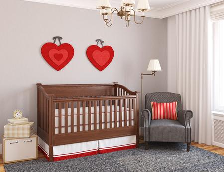 nursery: Interior del cuarto de niños. 3d. Foto de archivo