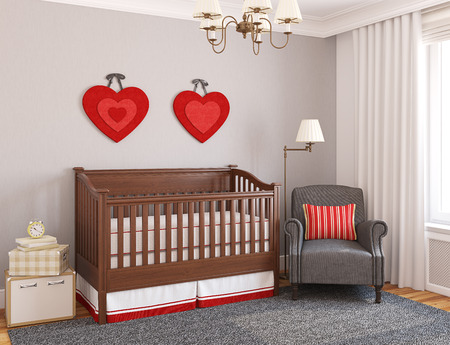 crib: Interior of nursery. 3d render.