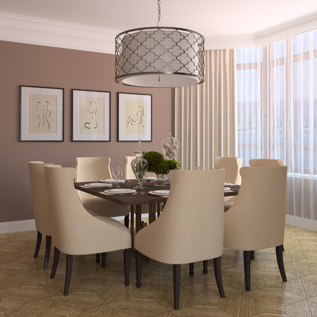 home interior: Modern dining-room interior. 3d render. Photo behind the window was made by me.
