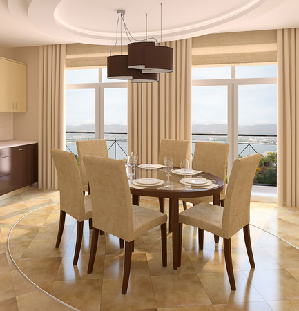 diningroom: Modern dining-room interior. 3d render. Photo behind the window was made by me.