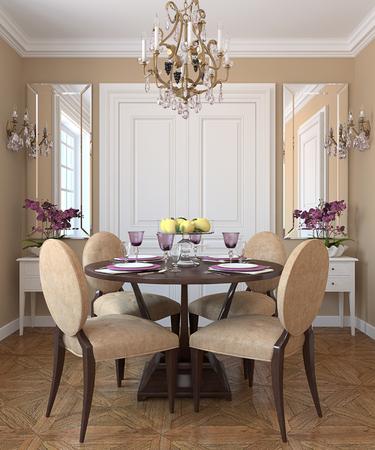 classic interior: Modern dining-room interior.3d render.