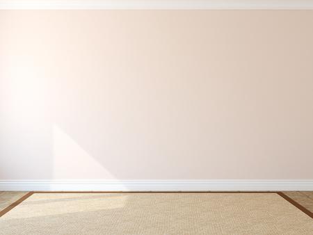 Interior. Empty room with rug. 3d render.