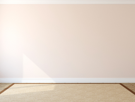 wall light: Interior. Empty room with rug. 3d render.