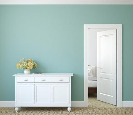 chambre: Couloir moderne avec la porte ouverte. 3d render.