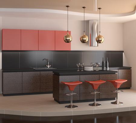 wood furniture: Interior of modern kitchtn. 3d render.