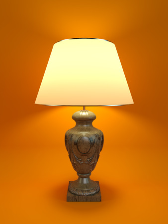 lamp shade: Large classic lamp with white shade on orange background. 3D render.