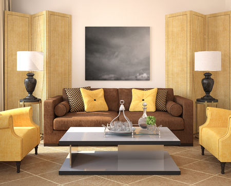 home decorating: Modern living-room interior. 3d render. Photo on the wall was made by me.
