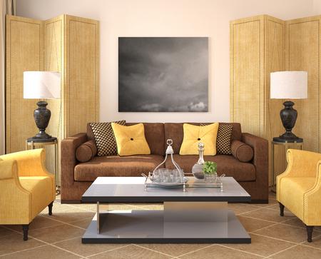 case moderne: Modern living-room interior. Rendering 3D. Foto sul muro � stata fatta da me.
