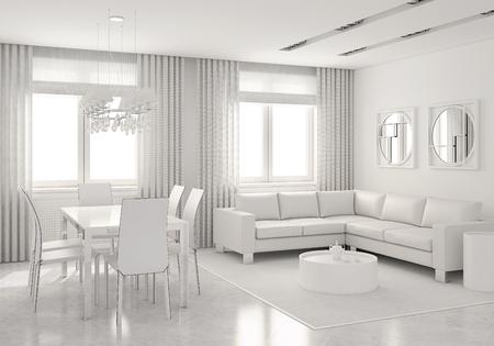 diningroom: Modern white interior of living-room and dining-room. 3D render