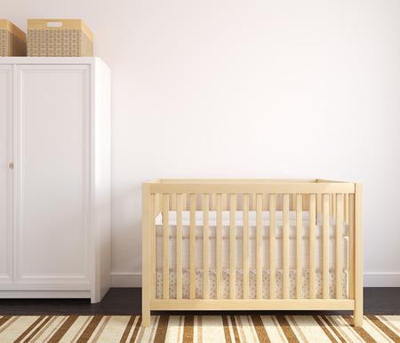 nursery: Acogedor interior del cuarto de niños con cuna de madera. Vista frontal. 3d.