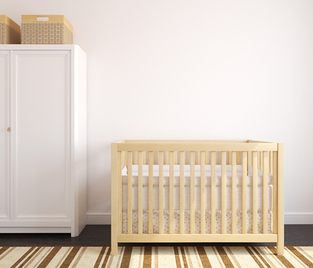 crib: Cozy interior of nursery with wooden crib. Frontal view. 3d render. Stock Photo