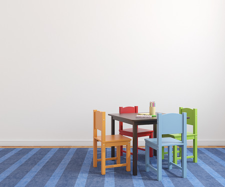 Colorful playroom interior with small table and four bright chairs. 3d render. Standard-Bild