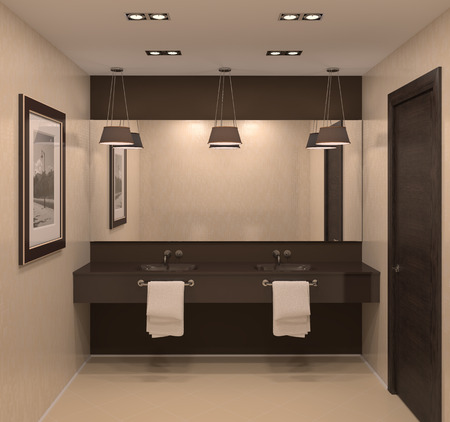 public house: Modern bathroom interior. 3d render.