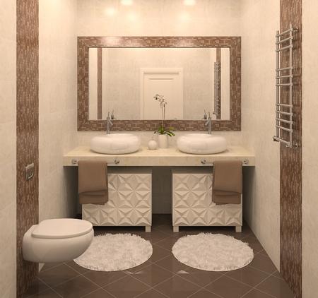bathroom design: Modern bathroom interior. 3d render.