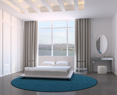 Modern bedroom interior. 3d render. Photo behind the window was made by me.