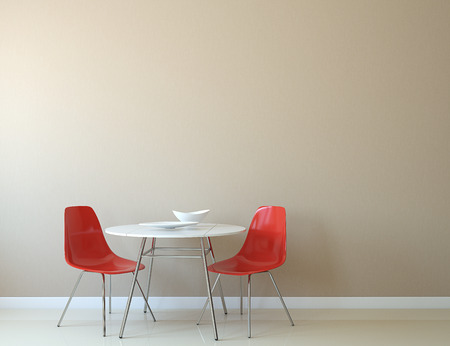 diningroom: Kitchen interior with table and two red chairs near empty beige wall. 3d render.