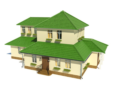 render residence: 3d render of   house with green roof