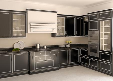render residence: Interior of luxury classic black kitchen. 3d render. Stock Photo