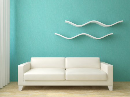 azul turqueza: entre sala de estar moderna. 3d.