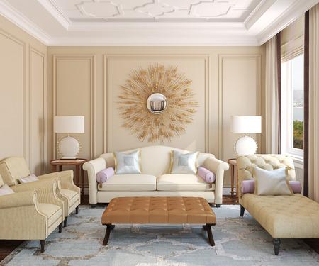 Luxus-Wohnraum unter. 3D-Darstellung. Foto hinter dem Fenster wurde von mir gemacht. Standard-Bild