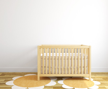 Beautiful interior of nursery with wood crib near empty white wall. Frontal view. 3d render.